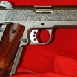 Titanium 45 acp Officers Frame with a Damascus Commander Slide