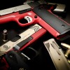 Red 1911 40 s/w, and 2011 45 acp Built by Dave Pruitt